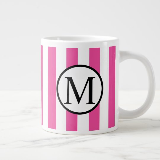 Simple Monogram with Pink Vertical Stripes Giant Coffee Mug