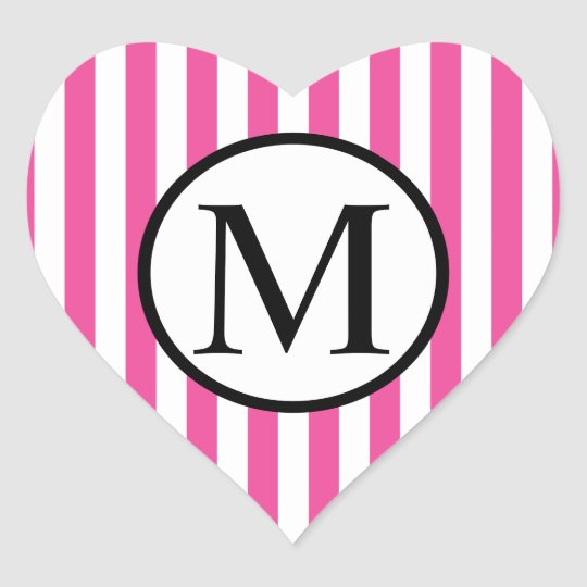 Simple Monogram with Pink Vertical Stripes Heart Sticker
