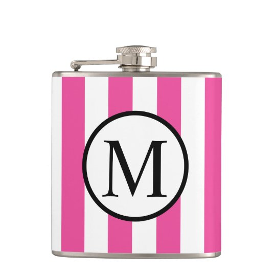 Simple Monogram with Pink Vertical Stripes Hip Flask