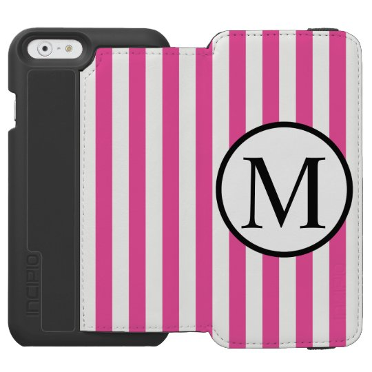 Simple Monogram with Pink Vertical Stripes Incipio Watson™ iPhone 6 Wallet Case