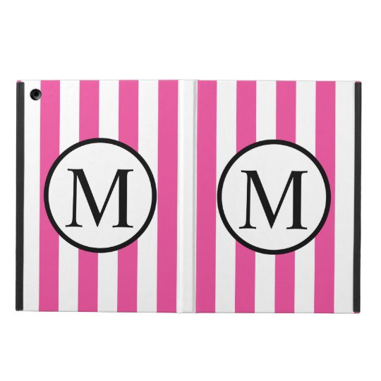 Simple Monogram with Pink Vertical Stripes iPad Air Covers