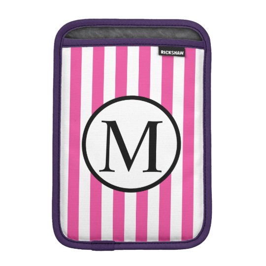 Simple Monogram with Pink Vertical Stripes iPad Mini Sleeves