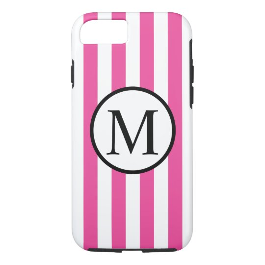 Simple Monogram with Pink Vertical Stripes iPhone 7 Case