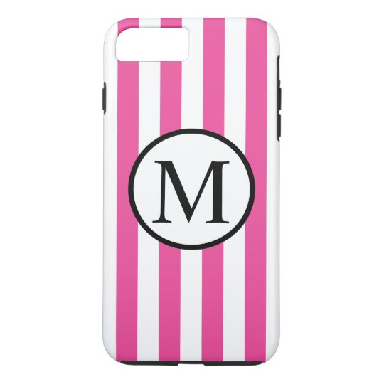 Simple Monogram with Pink Vertical Stripes iPhone 7 Plus Case