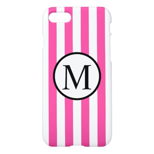 Simple Monogram with Pink Vertical Stripes iPhone 8/7 Case