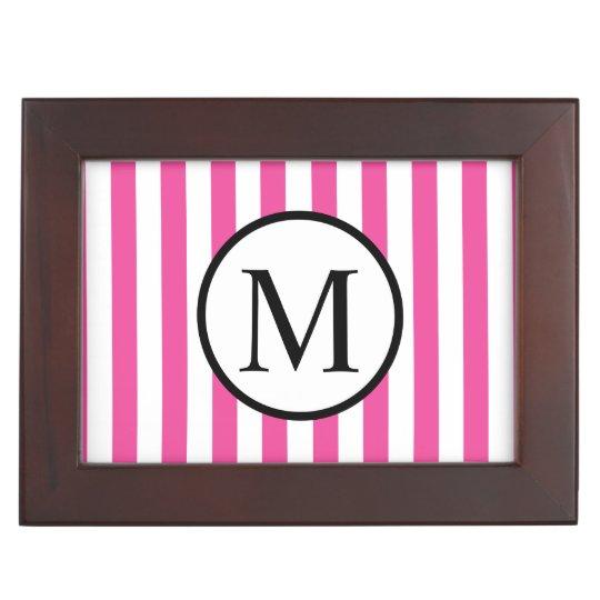 Simple Monogram with Pink Vertical Stripes Keepsake Box