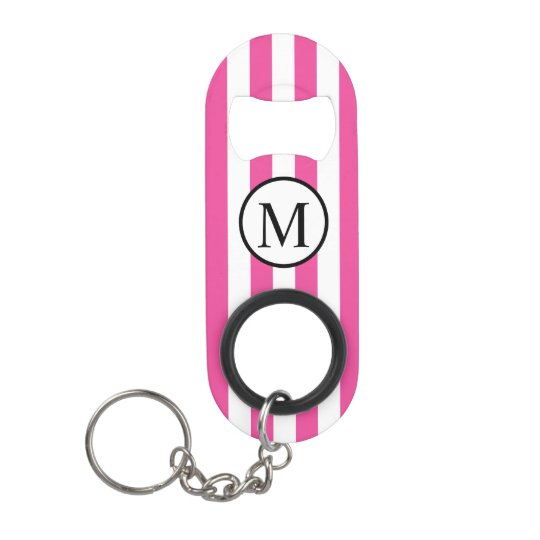 Simple Monogram with Pink Vertical Stripes Keychain Bottle Opener