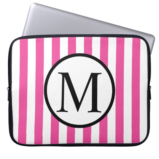 Simple Monogram with Pink Vertical Stripes Laptop Computer Sleeve