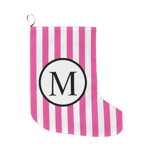 Simple Monogram with Pink Vertical Stripes Large Christmas Stocking