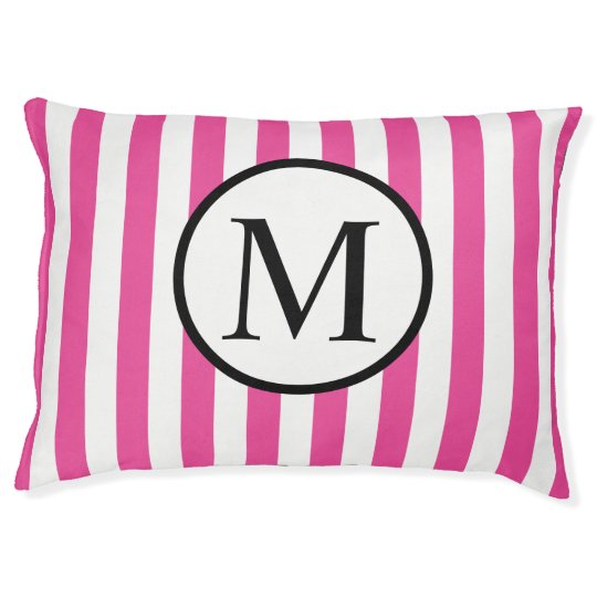 Simple Monogram with Pink Vertical Stripes Large Dog Bed