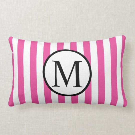 Simple Monogram with Pink Vertical Stripes Lumbar Pillow