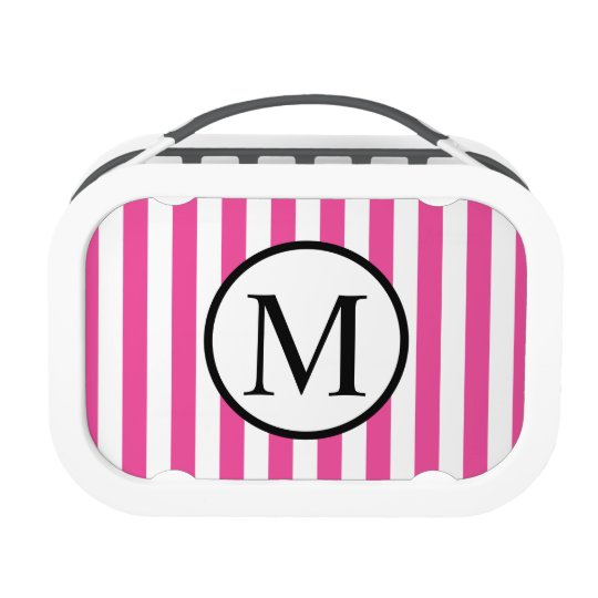 Simple Monogram with Pink Vertical Stripes Lunchboxes