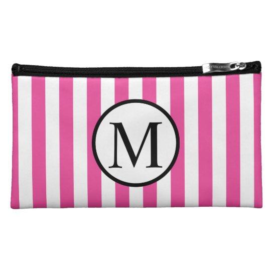 Simple Monogram with Pink Vertical Stripes Makeup Bag