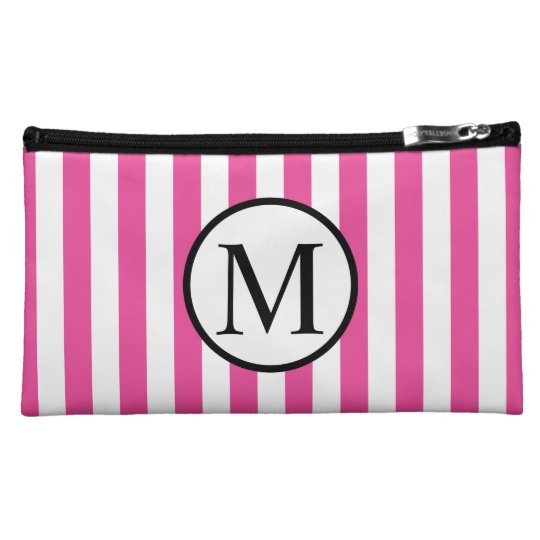 Simple Monogram with Pink Vertical Stripes Makeup Bags