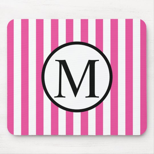 Simple Monogram with Pink Vertical Stripes Mouse Pad