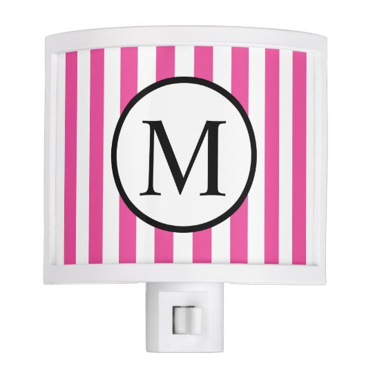 Simple Monogram with Pink Vertical Stripes Night Lights