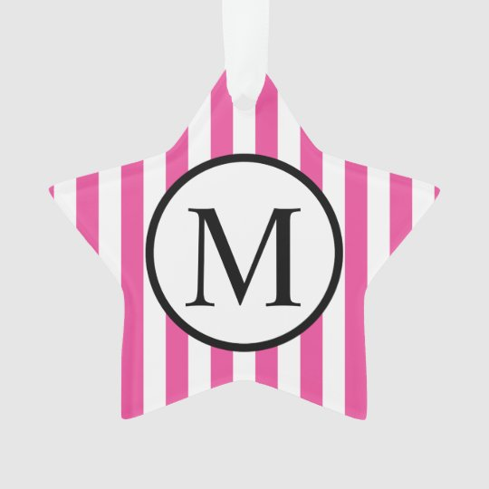 Simple Monogram with Pink Vertical Stripes Ornament