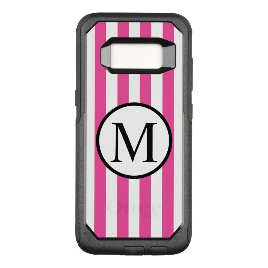 Simple Monogram with Pink Vertical Stripes OtterBox Commuter Samsung Galaxy S8 Case
