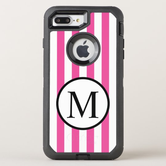 Simple Monogram with Pink Vertical Stripes OtterBox Defender iPhone 7 Plus Case
