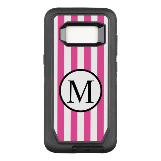 Simple Monogram with Pink Vertical Stripes OtterBox Defender Samsung Galaxy S8 Case