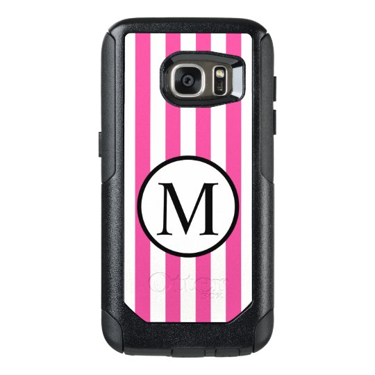 Simple Monogram with Pink Vertical Stripes OtterBox Samsung Galaxy S7 Case