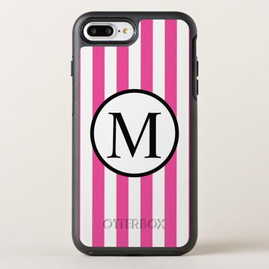 Simple Monogram with Pink Vertical Stripes OtterBox Symmetry iPhone 7 Plus Case