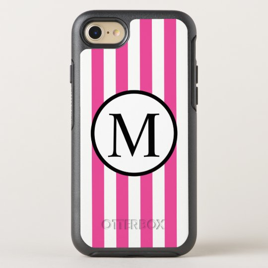 Simple Monogram with Pink Vertical Stripes OtterBox Symmetry iPhone 8/7 Case