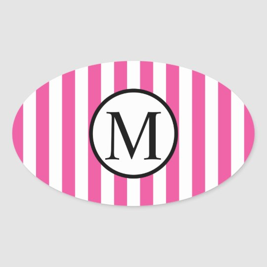 Simple Monogram with Pink Vertical Stripes Oval Sticker