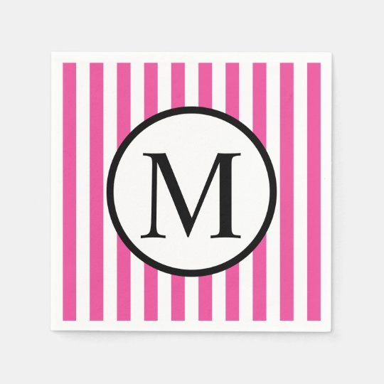 Simple Monogram with Pink Vertical Stripes Paper Napkin
