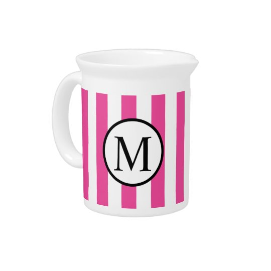 Simple Monogram with Pink Vertical Stripes Pitcher
