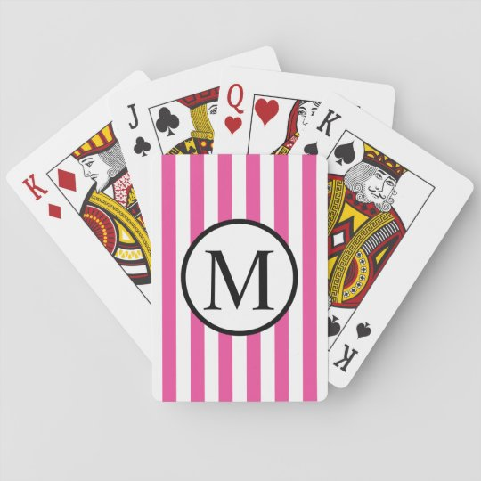 Simple Monogram with Pink Vertical Stripes Playing Cards
