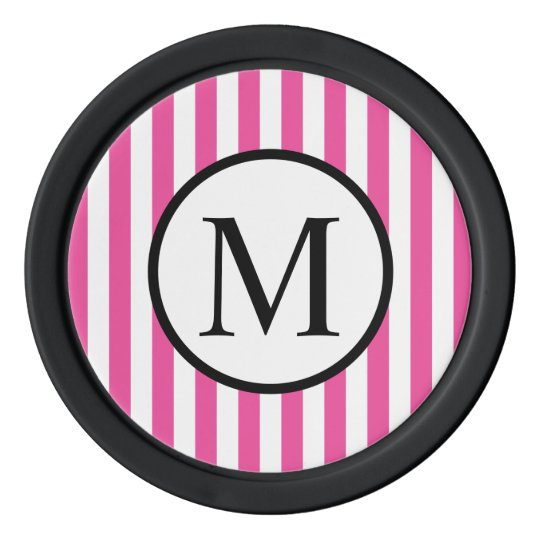 Simple Monogram with Pink Vertical Stripes Poker Chips
