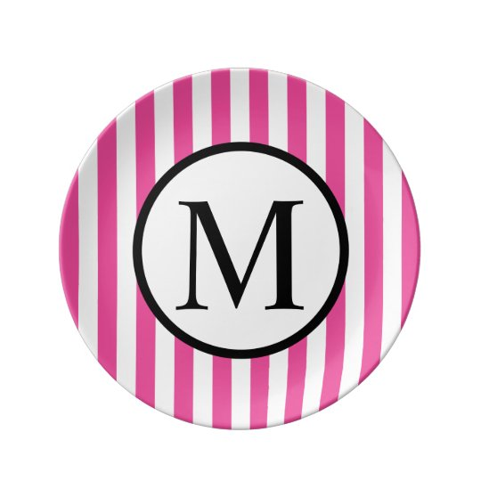 Simple Monogram with Pink Vertical Stripes Porcelain Plate