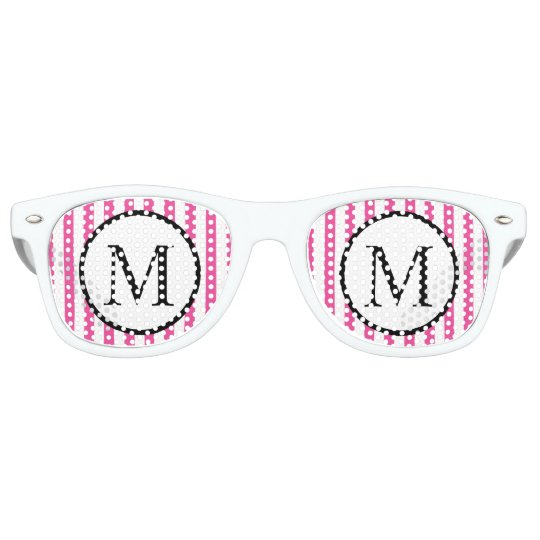 Simple Monogram with Pink Vertical Stripes Retro Sunglasses