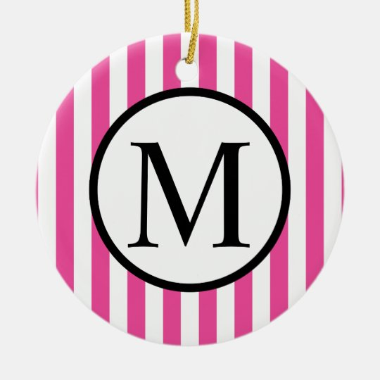 Simple Monogram with Pink Vertical Stripes Round Ceramic Ornament