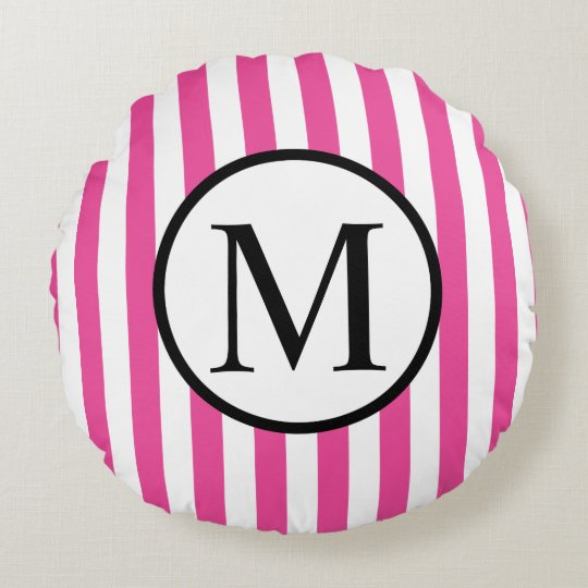 Simple Monogram with Pink Vertical Stripes Round Pillow