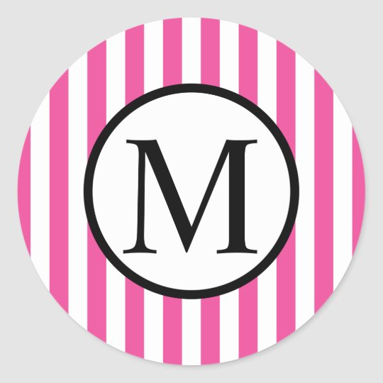 Simple Monogram with Pink Vertical Stripes Round Sticker