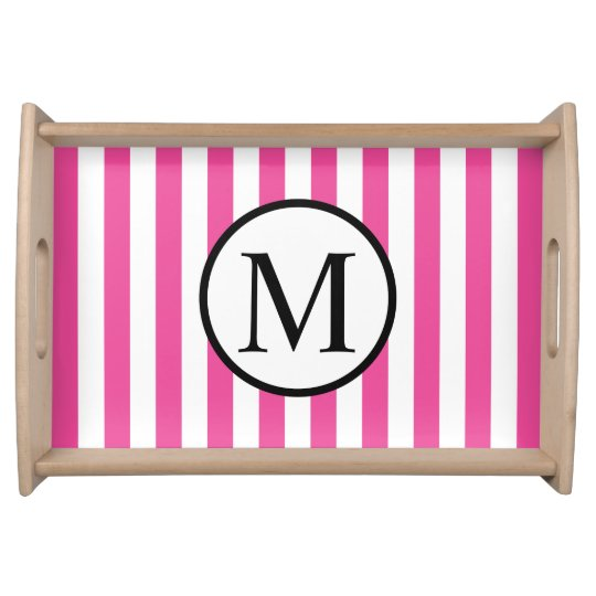 Simple Monogram with Pink Vertical Stripes Serving Tray