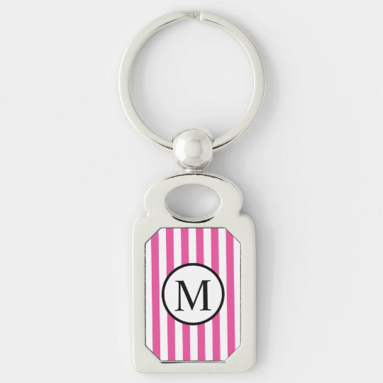 Simple Monogram with Pink Vertical Stripes Silver-Colored Rectangle Keychain