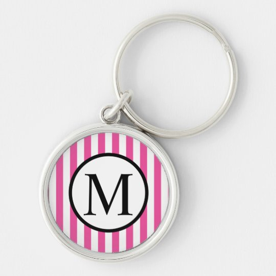 Simple Monogram with Pink Vertical Stripes Silver-Colored Round Keychain