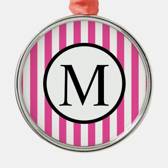 Simple Monogram with Pink Vertical Stripes Silver-Colored Round Ornament