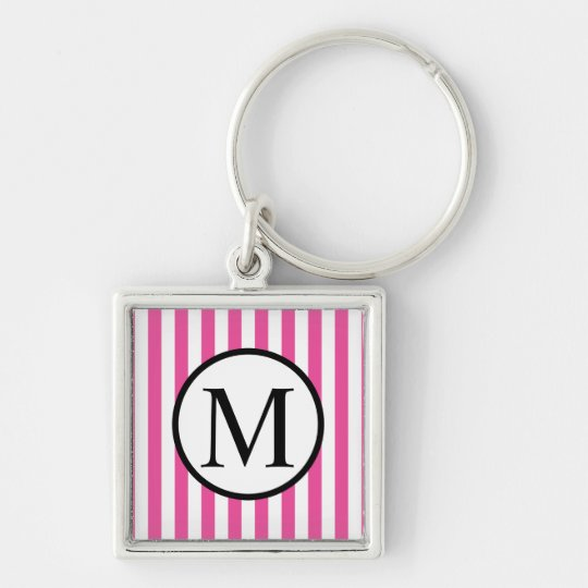 Simple Monogram with Pink Vertical Stripes Silver-Colored Square Keychain