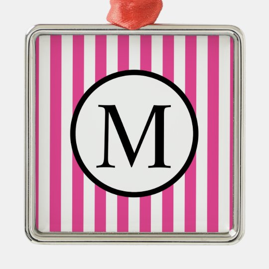 Simple Monogram with Pink Vertical Stripes Silver-Colored Square Ornament
