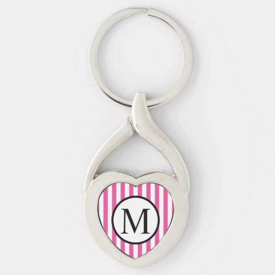 Simple Monogram with Pink Vertical Stripes Silver-Colored Twisted Heart Keychain
