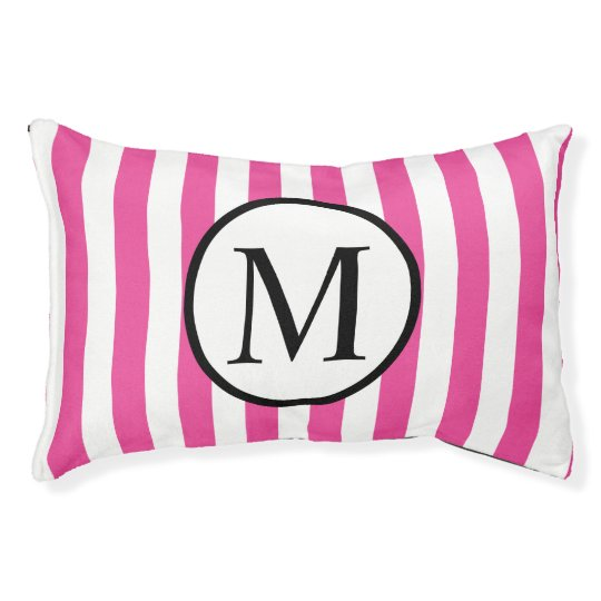 Simple Monogram with Pink Vertical Stripes Small Dog Bed
