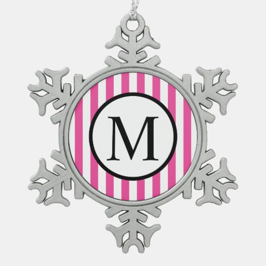 Simple Monogram with Pink Vertical Stripes Snowflake Pewter Christmas Ornament