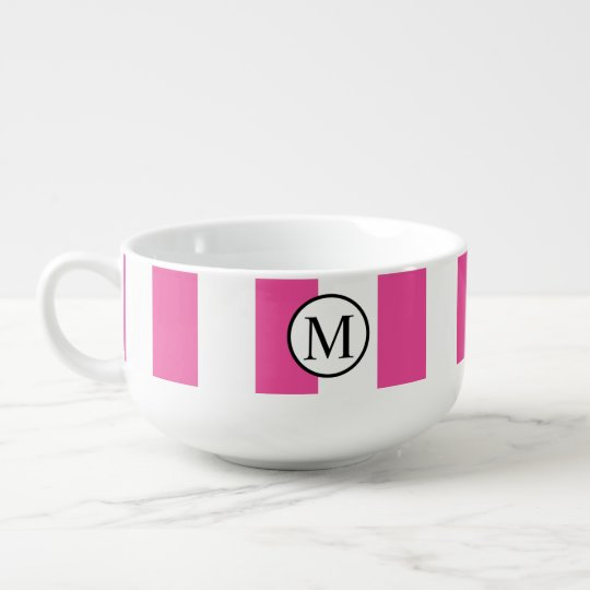 Simple Monogram with Pink Vertical Stripes Soup Mug
