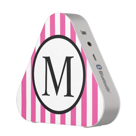 Simple Monogram with Pink Vertical Stripes Speaker