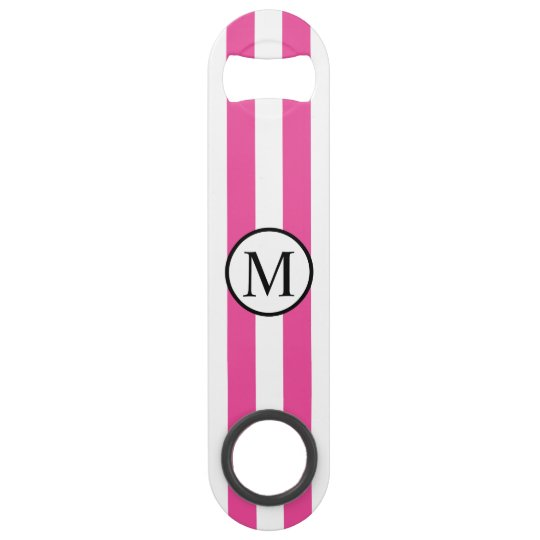 Simple Monogram with Pink Vertical Stripes Speed Bottle Opener