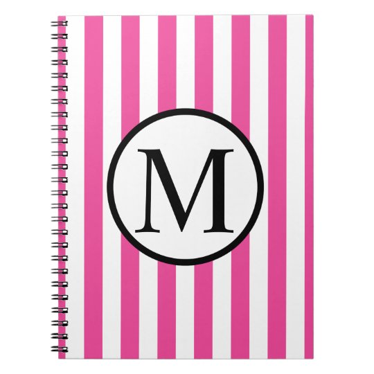 Simple Monogram with Pink Vertical Stripes Spiral Note Book